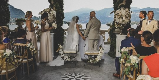 Ceremony on the shore of Lake Como